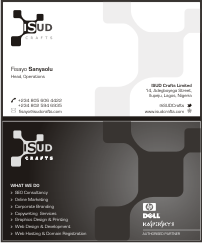 Mr. Victor Aderibigbe, the Head of Designs <strong>@iSUD Crafts Limited</strong> came up with this experiment and the Board of Directors approved it to be our <strong>Business Card</strong>. Let's give it to Mr. Victor for his Creativity!!! :)